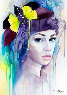 Yellow Butterfly Girl watercolor painting print by SlaviART