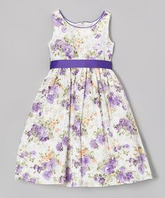 #2 for A. This Lavender & White Floral A-Line Dress - Toddler & Girls by L'etoile is perfect! #zulilyfinds