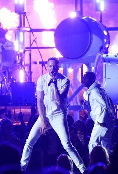 Dan Reynolds of Imagine Dragons and Kendrick Lamar perform on the 56th Annual GRAMMY Awards on Jan. 26 in Los Angeles