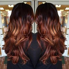 Dark Copper and Chocolate Balayage Highlights for Brunettes