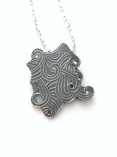Abstract Ocean waves silver pendant by MandanaStudios on Etsy