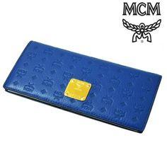 MCM(エムシーエム) ロングウォレット スナップボタン レザー 長財布 ブルー 【送料無料】 wal-mcm-012