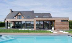 Leefveranda met twee overdekte terrassen, combinatie hout, aluminium - Extension maison avec deux toits de terrasse, mixte bois, aluminium