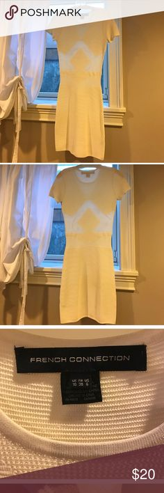 White French Connection Dress Runs small, like with most French Connection dresses! It has sheer spots but not inappropriate--great quality. Good for bachelorette party or a bridal shower with a tank underneath. French Connection Dresses