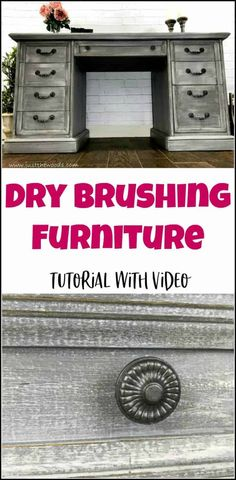 DIY Furniture- Dry brushing furniture tutorial with video. Dry brushing is the easiest furniture painting technique. Get a gorgeous dry brushed painted furniture finish. Furniture Painting Techniques, Chalk Paint Furniture, Diy Furniture Projects, Funky Furniture, Repurposed Furniture, Shabby Chic Furniture, Rustic Furniture, Furniture Makeover, Antique Furniture