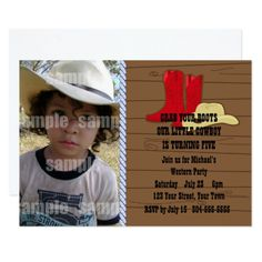 Little Cowboy Birthday Party Card