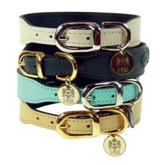 $70 Hartman & Rose Georgia Collection Leather Dog Collar..the turquoise one with a pink leash?! (@Joanne Daus Dimeff )
