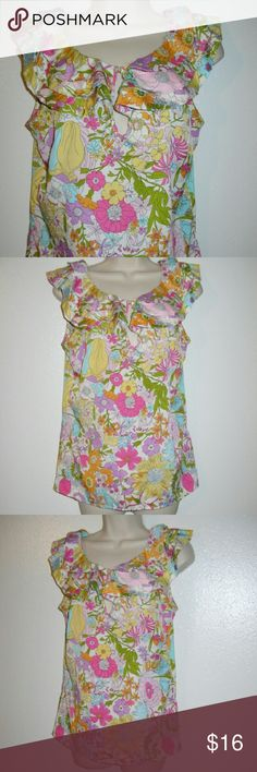 """Liberty of London ruffle top blouse M floral pink Like new pretty blouse! Bust 38"""" Long 24"""" liberty of London Tops Blouses"""