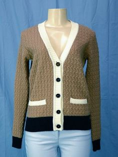 Preppy-chic! New SEE BY CHLOE Color Block Cardigan Sweater Cable Knit Sz 38 4 NWT 425 retail    eBay