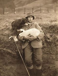 Heartwarming Vintage photo of a shepherd holding a lamb while his dog leans on h. - Heartwarming Vintage photo of a shepherd holding a lamb while his dog leans on his shoulder. Antique Photos, Vintage Pictures, Vintage Photographs, Old Pictures, Photo Vintage, Vintage Dog, Animals And Pets, Cute Animals, The Good Shepherd