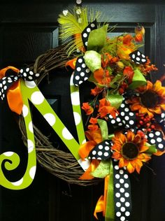 Add a cute letter to your existing fall wreath to take it up a notch.