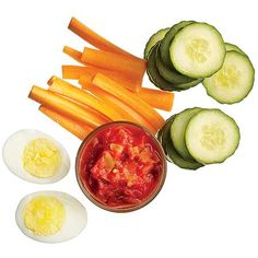 Snack    3/4 cup cucumber slices  1 1/2 cups carrots, sliced*  1/4 cup salsa for dipping  1 large egg, hard-boiled    *Crunch carrots in the afternoon and you'll munch less at dinner. The fiber helps keep you satisfied.    Total: 182 calories