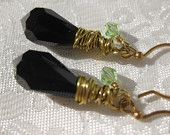 Womens Jewelry, Jet Black Firepolished Tear Drop Earrings, Swarovski Crystal, Gold Plate wirewrapped,
