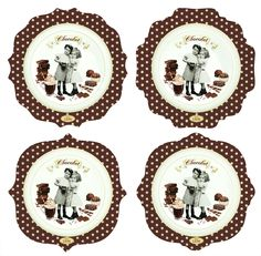 #Zestaw talerzy z porcelany || #Set of 4 #plates perfect for serving desserts. || #decosalon #kitchenaccessories #gift #giftidea