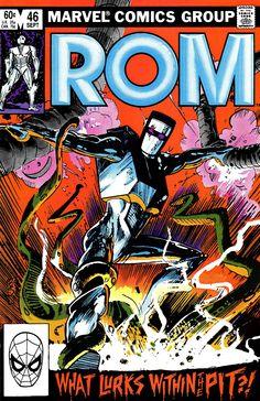 Rom #46 (1983) by Bill Sienkiewicz Marvel Comics Art, Marvel Comic Books, Comic Book Characters, Marvel Characters, Comic Character, Comic Books Art, Comic Superheroes, Book Art, Character Design
