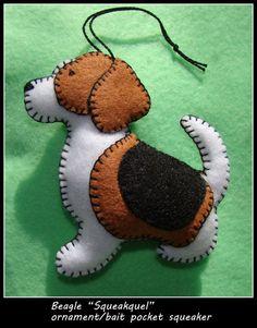 SALE!! BEAGLE ornament-REDUCED!! Beagle bait pocket squeaker/ornament combination. Handmade felt-unique dog gift