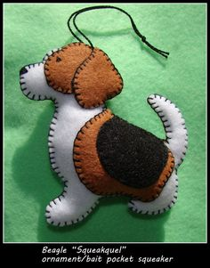 SALE!! BEAGLE ornament-REDUCED!! Beagle bait pocket squeaker/ornament combination. Handmade felt-unique dog gift