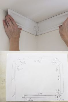 How to install crown molding easily and without error using corner angle templates. Tips on scarf joints and the proper way to & in& when painting. Cut Crown Molding, Diy Molding, Cove Molding, Molding Ideas, Plafond Staff, Molding Ceiling, Diy Crown, Trim Work, Moldings And Trim