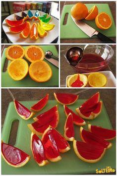 Mas conocidas como naranjas con gelatina...muy ricas, entretenidas para los cumpleaños, sorprenda a sus invitados con un postre novedoso..Kro. Mini Melancia de Gelatina