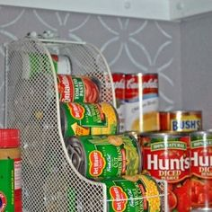 Magazine Holder for Cans - Get Organzed in 2013 - Kitchen and Home Organization Tips and Ideas (found on Pinterest)