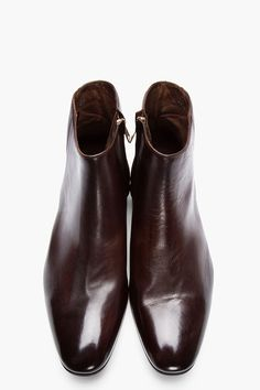 PS PAUL SMITH Brown Leather Dip Dyed Fury Boots