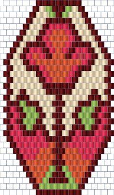 Esquema chaquira Bead Crochet Patterns, Peyote Patterns, Beading Patterns, Stitch Patterns, Brick Stitch Earrings, Seed Bead Earrings, Seed Bead Crafts, Beaded Banners, Bead Earrings