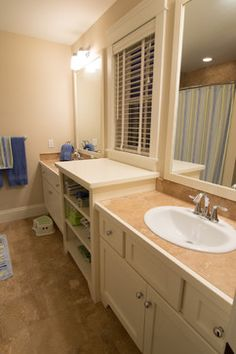 I like the idea of separating the Jack and Jill sink/vanities with shelving, either open or closed,