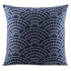 Παραδοσιακά Μπλε Fan Βαμβάκι / Λευκά Είδη Διακοσμητικά Pillow Cover   – EUR € 12.37