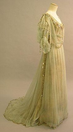 Lemon green silk chiffon on lamé evening gown, 1908