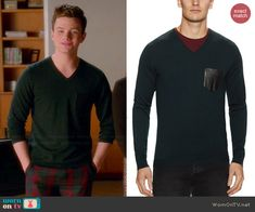 Kurt's green v-neck sweater with leather pocket on Glee. Outfit Details: http://wornontv.net/45356/ #Glee