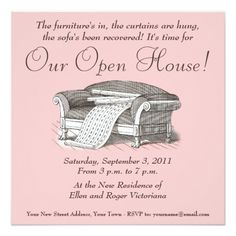 """Vintage Victorian Housewarming / Open House 5.25"""" Square Invitation Card"""