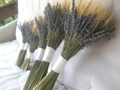 Lavender and Wheat Bouquet for Country, Farm, Vintage Chic Wedding Eco-friendly Keepsake for bride and bridesmaids. $65.00, via Etsy. We could do blue bonnets instead of lavender and it would be your wedding colors