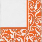 Orange Ornamental Scroll Lunch Napkins 16ct