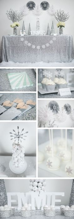 Winter wonderland party and decorations. Silver glitter and teal party. Rent the Kit or buy sweet party supplies at undercoverhostess...