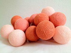 Cottonball Kugel lichter #Aprikosen mit 20 leuchtenden Kugeln aus Baumwolle