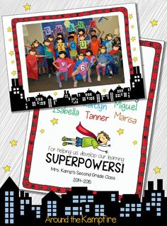 Superhero EDITABLE class thank you card