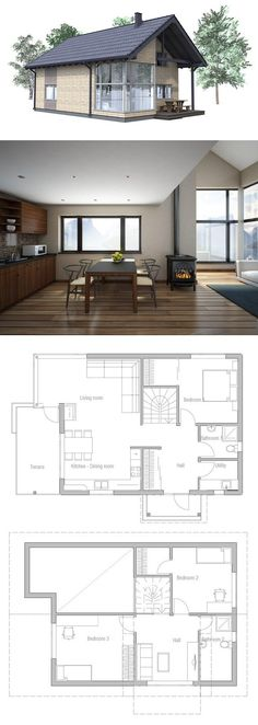 Cool plan, nice clean decor. We wouldn't need the second floor, though. Have a basement for storage and keep furnace and water heater down there, then combine main floor utility room with bathroom for larger, combined bath/laundry.