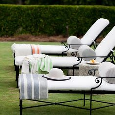 These Brown Jordan chaises are lovely to lounge upon by the pool! @kolocollection #brownjordan #Greenville #stripes #chaise