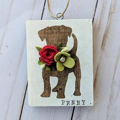 Items similar to Custom dog ornament on Etsy Christmas Signs, Felt Christmas, Felt Flowers, Paper Flowers, Felt Crafts, Wood Crafts, Dog Ornaments, Primitive Ornaments, Bee Creative