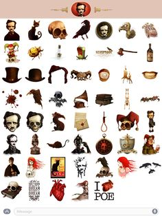 iClassics introduces its collection of stickers for iMessage for all those passionate about literature. Edgar Allen Poe Tattoo, Norse Symbols, Crows Ravens, Macabre, Cool Gifts, Book Worms, Art Decor, Creepy, Horror