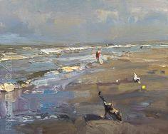 Seascape Morning Light - http://rosepleinair.com/seascape-morning-walk/ #painting #pleinair