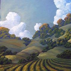 California Impressionist Landscape Art Signed | Hawkins Impressionist Art Oil Landscape California Vineyard wine Plein ...