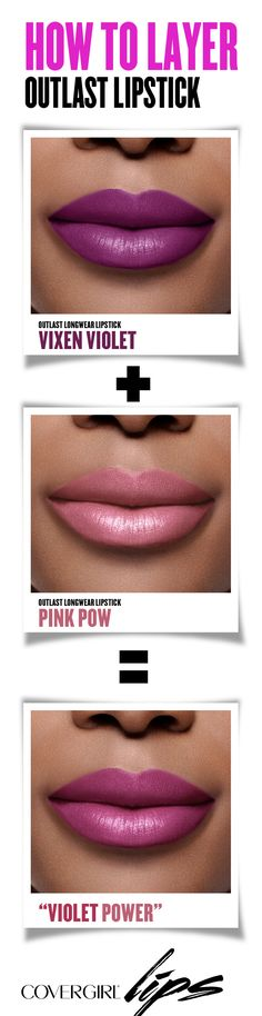 Makeup tip: Layer Outlast Lipstick in Vixen Violet and Pink Pow for a new outlasting pink lip look or choose two colors of your own for a unique DIY creation. Try this look for your next holiday party!