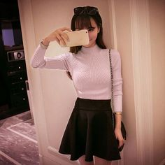 New Fashion women turtleneck knitted sweater female knitted slim pullover  girls all-match basic thin long-sleeve shirt clothing 2fb774f91