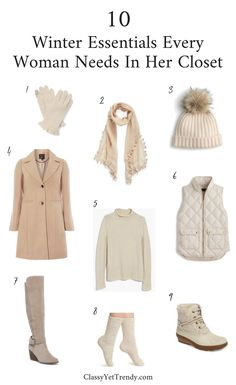10 Winter Essentials Every Woman Needs In Her Closet - It's Winter and you want to have the right essentials in your wardrobe on hand to stay warm, like a wool coat, vest, scarf, gloves, beanie and boots.