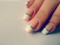 Super Cute Super Easy: French manicure with turquoise glitter