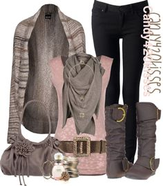I love this Outfit.  Gray Print sweater, scarf, buckle boots & purse.  Purple Top with wide belt.  Black Jeans.