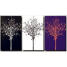 3 Colored Trees hand painted canvas art for the home at articulatestyle.com