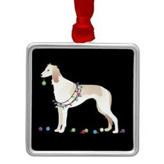Saluki Christmas Design Square Metal Christmas Ornament