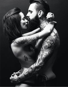 Tattooed couple. Look after each other & look after your tatts! Best Australian made pre\post cream @ www.tat2oz.com